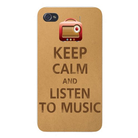 Apple Iphone Custom Case 4 4s White Plastic Snap on - Keep Calm and Listen to Music (Listen To The Radio On My Phone)