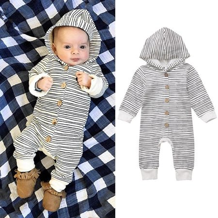 Baby Boys Girls Striped Hooded Romper Jumpsuit Bodysuit Clothes Outfits