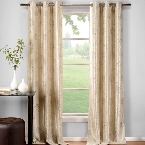 DR International Krysta Geometric Semi-Sheer Thermal Grommet Curtain Panels (Set of 2)