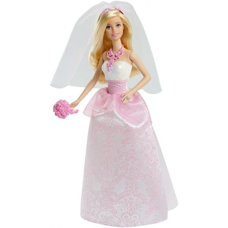 Barbie Bride Doll in White & Pink Dress with Veil & Bouquet