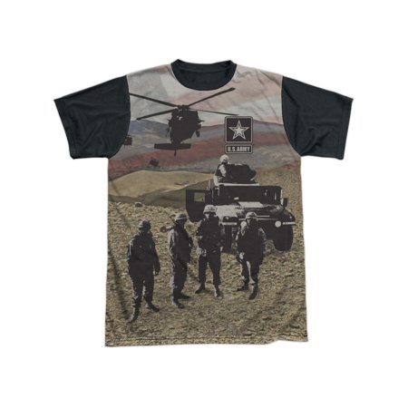United States Armed Forces Army Desert Storm Humvee Adult Black Back T-Shirt