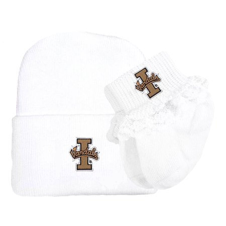 Idaho Vandals Newborn Baby Knit Cap and Socks with Lace Set ()