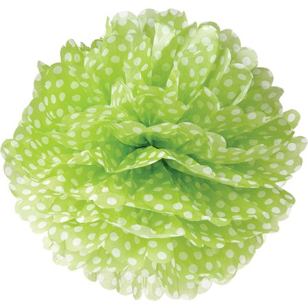 Tissue Paper Pom Pom (15-Inch, Chartreuse Green with Polka Dots) - For Baby Showers, Nurseries, and Parties - Hanging Paper Flower Decorations Blue Polka Dot Tissue Box