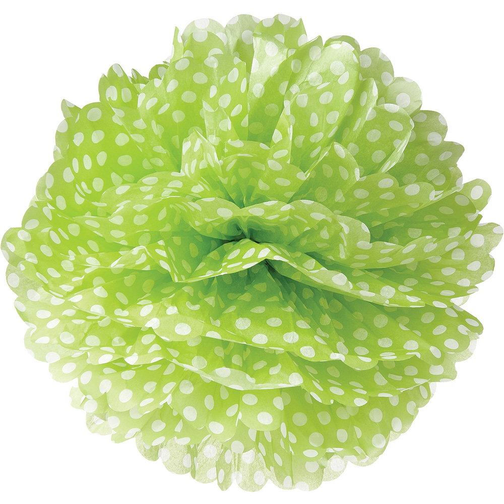 Tissue Paper Pom Pom (15-Inch, Chartreuse Green with Polka Dots) - For Baby Showers, Nurseries, and Parties - Hanging Paper Flower Decorations
