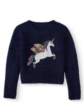 Wonder Nation Long Sleeve Unicorn Sweater