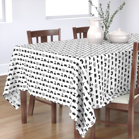 Image of Tablecloth Video Game Consoles Black + White Pattern And Vintage Cotton Sateen