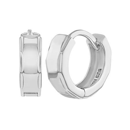 925 Sterling Silver Huggie Earrings for Girls Teens Elegant High Polish (High Polished Girl)