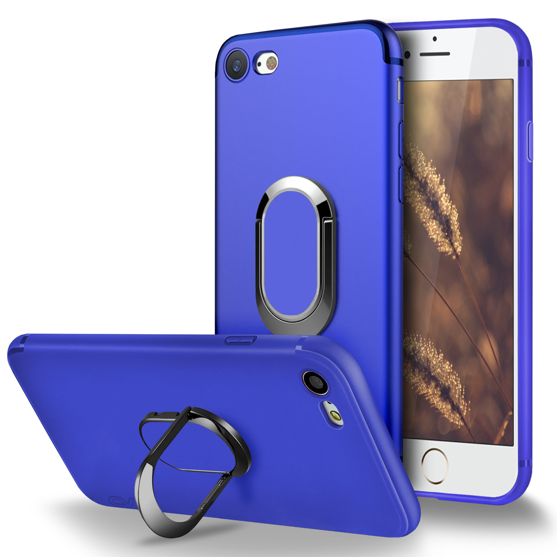 iPhone 6 Case, iPhone 6S Case, Cellularvilla [Slim Fit] Matte Soft Flexible TPU Protective Case with Built in 360 Degree Rotating Ring Holder Kickstand Cover For Apple iPhone 6 / 6S (4.7 inch)