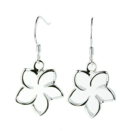 R.H. Jewelry Sterling Silver 15mm Plumeria Open Flower Hoop Earring - Hill Tribe Silver 15mm White
