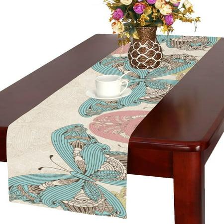 MYPOP New Colorful Flying Butterfly Zen Art Cotton Linen Table Runner 16x72 -