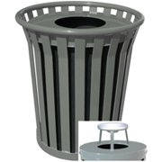 Witt Industries WC3600-AT-SLV 36 Gallon Slatted Steel Receptacle With Ash Top, Silver