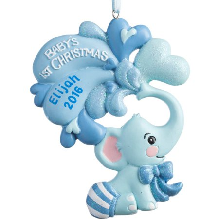 Personalized Christmas Ornament - Elephant Baby Boy's 1st