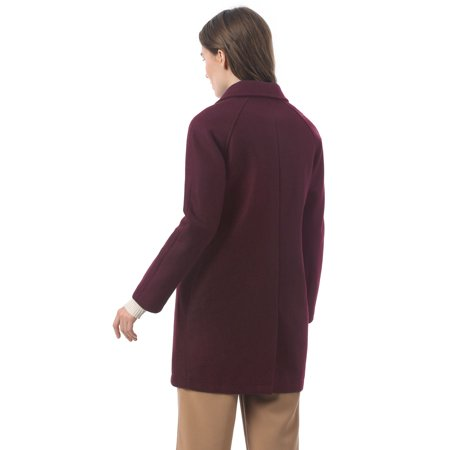 Women's Notched Lapel Double Breasted Raglan Trench Coat Burgundy S (US 6) - image 4 de 6
