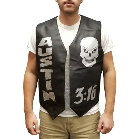 Halloween Skulls Cartoon (Stone Cold Vest Steve Austin 3:16 Skulls Halloween Costume Leather Wrestler)