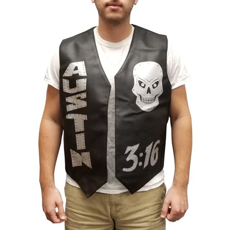 Stone Cold Vest Steve Austin 3:16 Skulls Halloween Costume Leather Wrestler Gift (Womens Skull Halloween Makeup)
