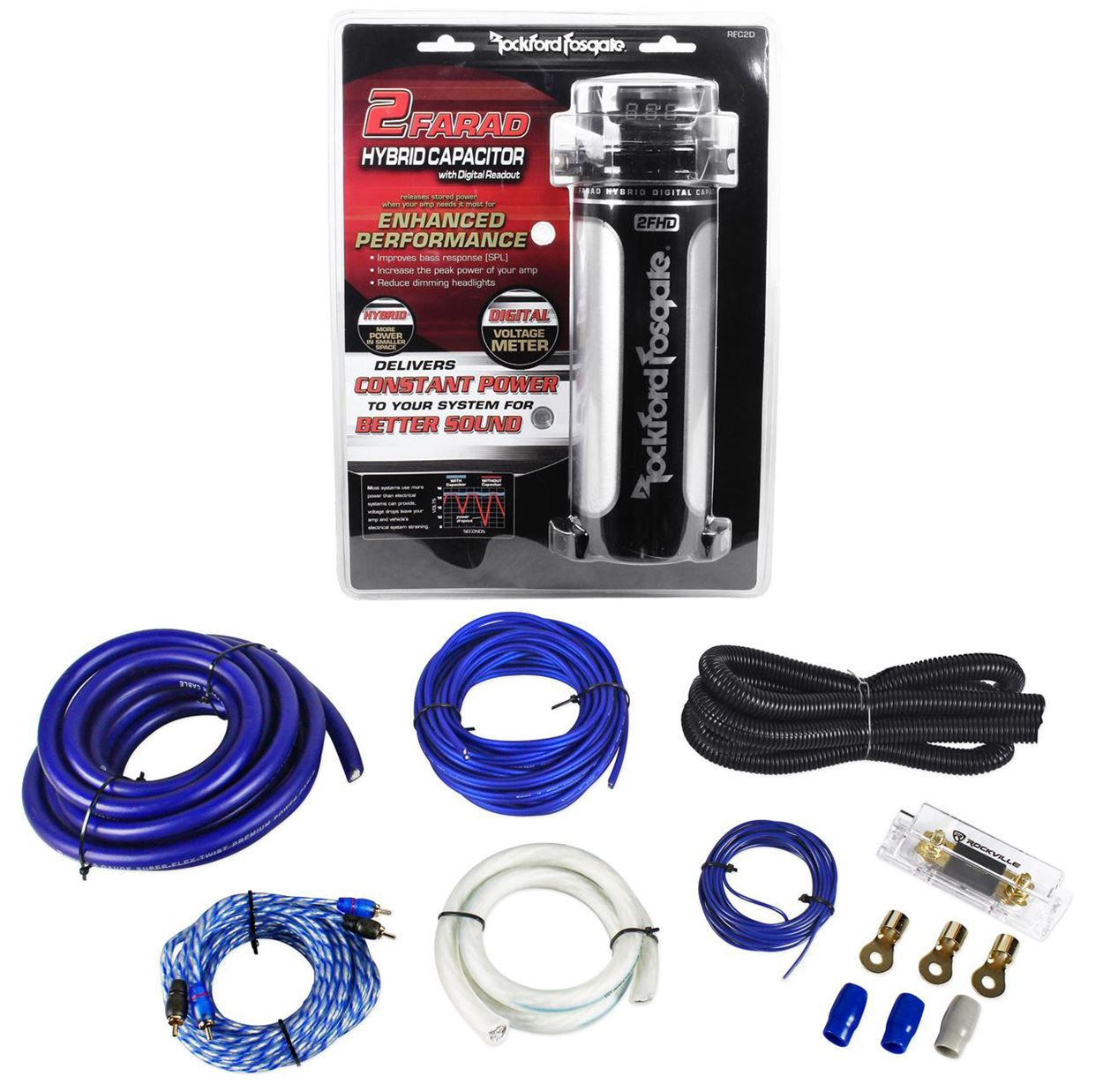 Rockford Fosgate RFC2D 2 Farad Digital Car Capacitor w/ M...