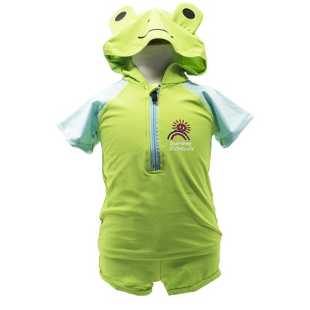 StylesILove Adorable Baby Boy Green Frog Hoodie Costume 2-PC Swimsuit (2-3 Years)