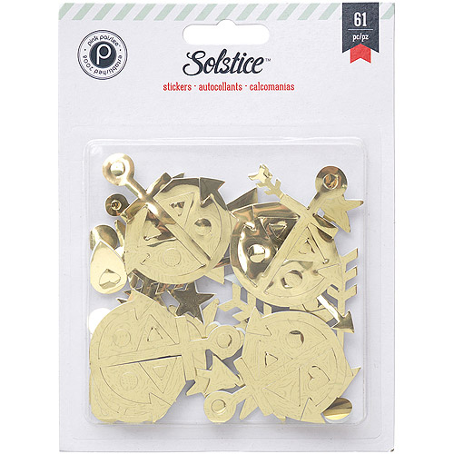 Solstice Foam Stickers, 61pk, Gold Shapes