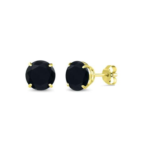 14k Round Onyx - 2.56 Ct Round 7mm Black Onyx 14K Yellow Gold Stud Earrings
