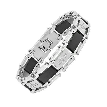 Cubic Zirconia Stainless Steel Bracelet (CZ Stainless Steel Two-Tone Black Bracelet,)