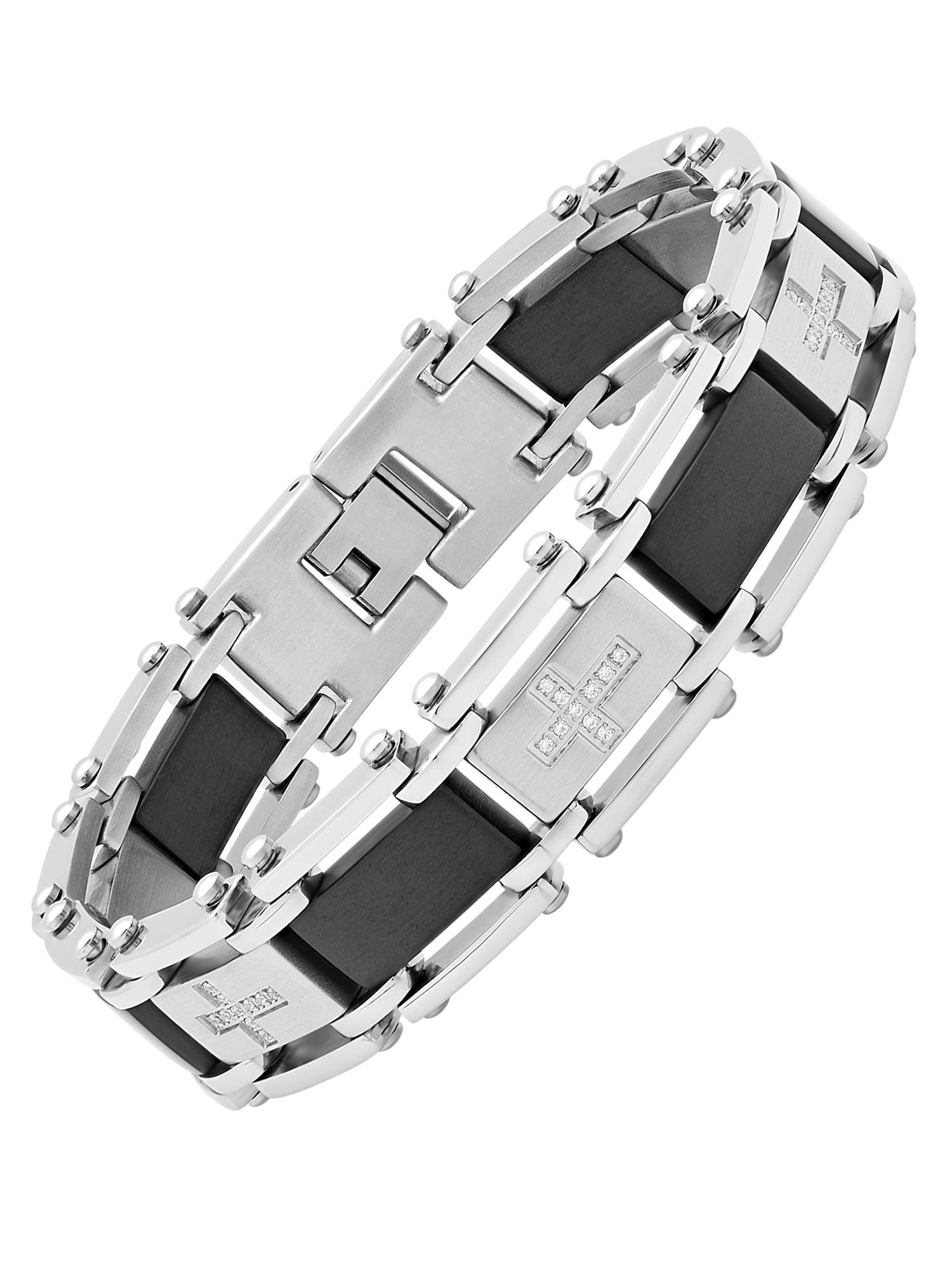 "CZ Stainless Steel Two-Tone Black Bracelet, 8.5"""
