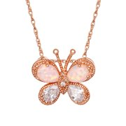 """Brilliance Fine Jewelry Sterling Silver 14kt Gold Plated Cubic Zirconia & Created Opal Butterfly Pendant, 18"""" Chain"""