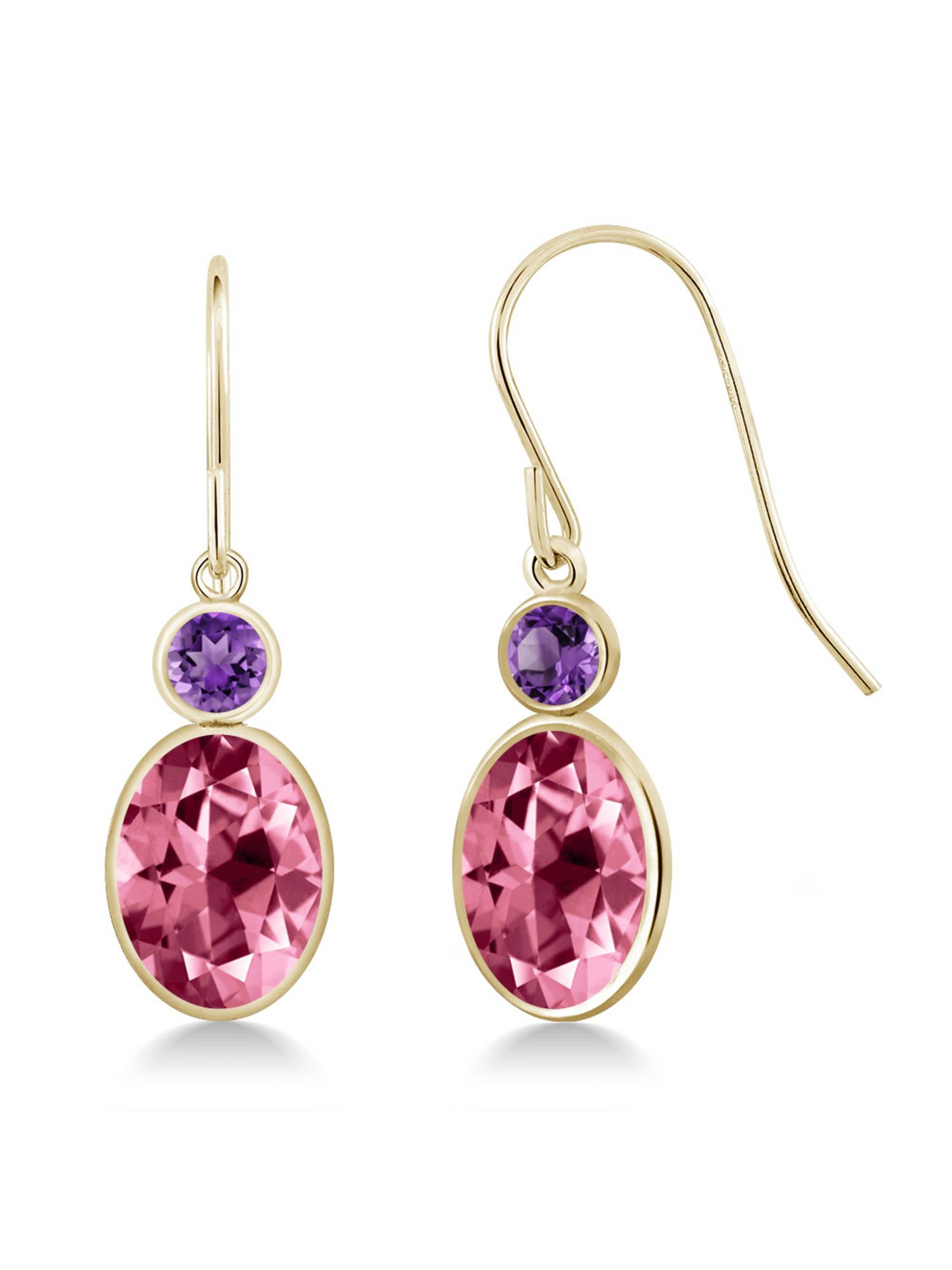14K Yellow Gold Earrings Amethyst Set with Oval Pink Topaz from Swarovski by