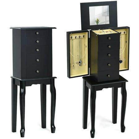 Costway Jewelry Cabinet Armoire Storage Box Chest Standing Organizer with Mirror White/ Black ()