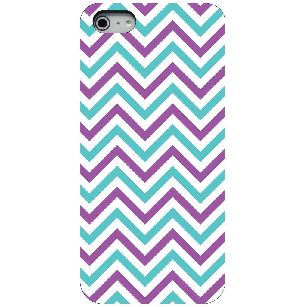 CUSTOM Black Hard Plastic Snap-On Case for Apple iPhone 5 / 5S / SE - Purple Teal Chevron Stripes