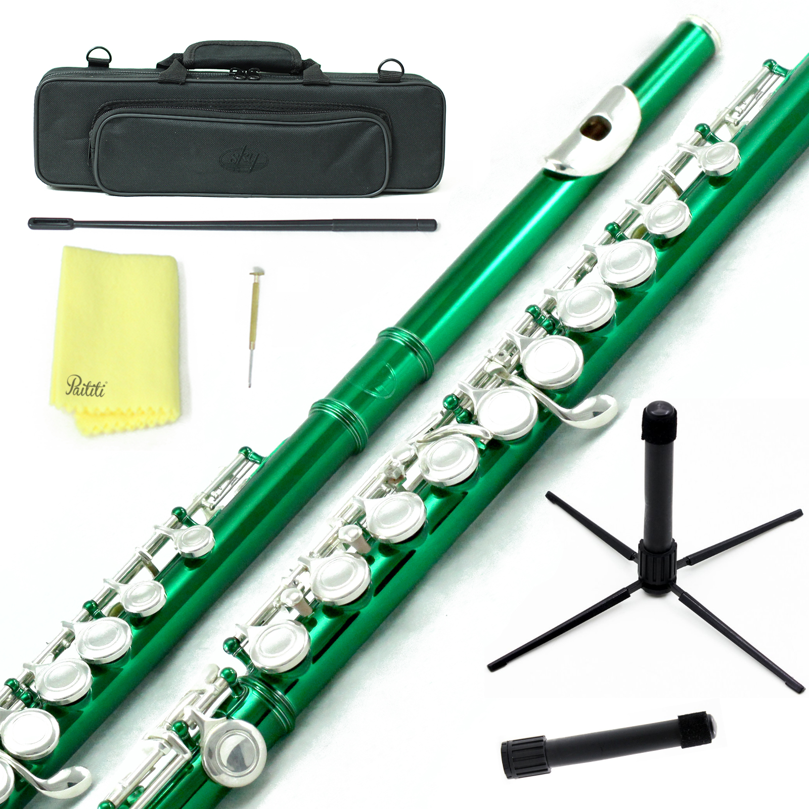 Sky Closed Hole C Flute with Lightweight Case, Cleaning Rod, Cloth, Joint Grease and Screw Driver - Green Silver