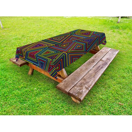 Geometric Outdoor Tablecloth, Modern Design in Rainbow Colors Triangles Retro 80s Like Pattern Image Artwork, Decorative Washable Fabric Picnic Table Cloth, 58 X 84 Inches,Multicolor, by Ambesonne](80s Tablecloth)
