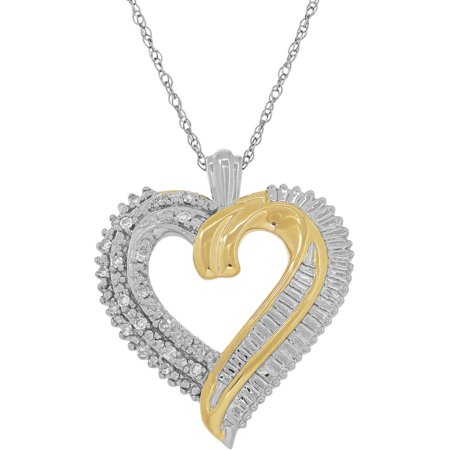 Diamond Open Heart Pendant - 1/10 CTTW Diamond Sterling Silver and 18K Yellow Gold-Plate Open Heart Pendant, 18