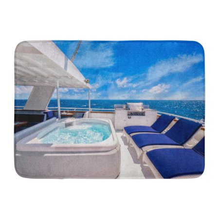 GODPOK Sunny AFT Deck of Large Luxurious Private Motor Yacht Featuring Hot Tub Spa Chairs and Barbecue Blue Rug Doormat Bath Mat 23.6x15.7 inch