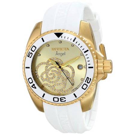 - Women's Angel Ltd. Ed. Cz White Polyurethane Gold-Tone Dial Movement: Quartz
