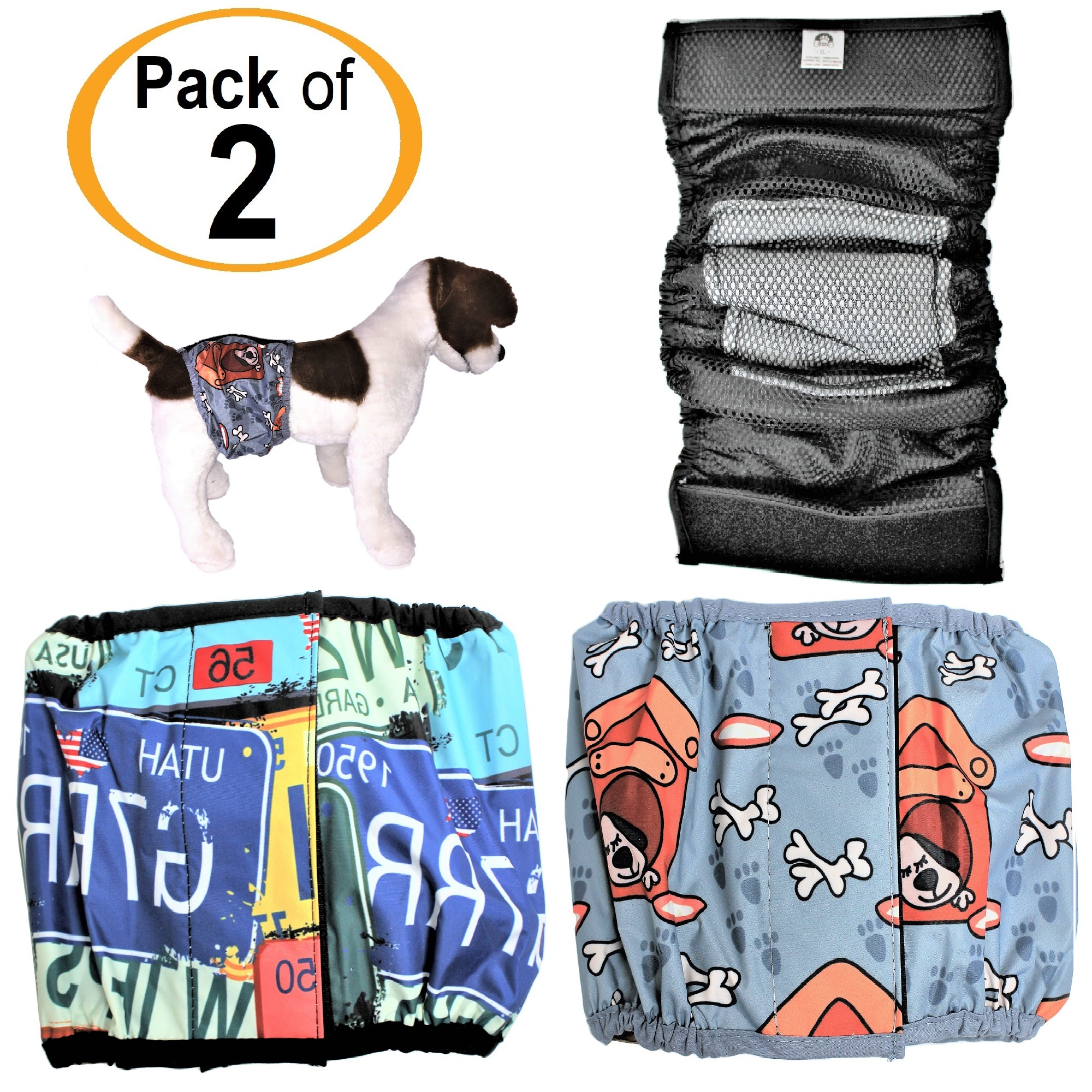 """PACK – 2 Colors WATERPROOF Diapers Dog Belly Band WITH ABSORBENT Pad Male Wrap Reusable sz XXS (waist 6"""" - 8"""")"""