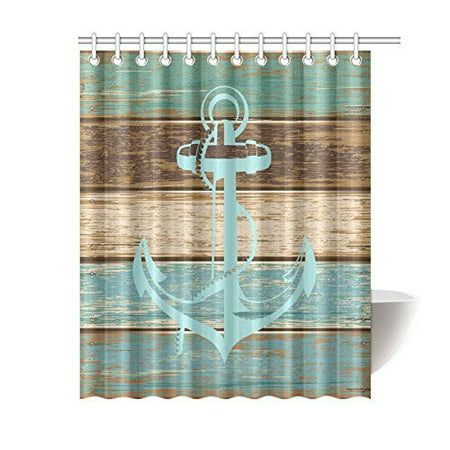 MYPOP Anchor Shower Curtain, Boat Anchor Nautical Blue Rustic Wooden Planks Polyester Fabric Bathroom Shower Curtain Set with Hooks, 60 X 72 Inches Long - Nautical Shower Curtain Hooks