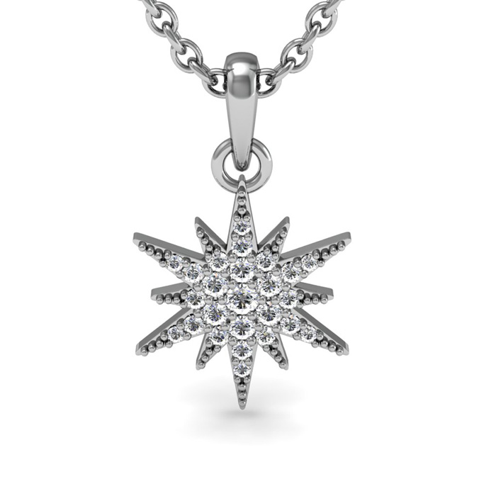 1 4 Carat Diamond Starburst Necklace Sterling Silver 18 Inches by Adoriana