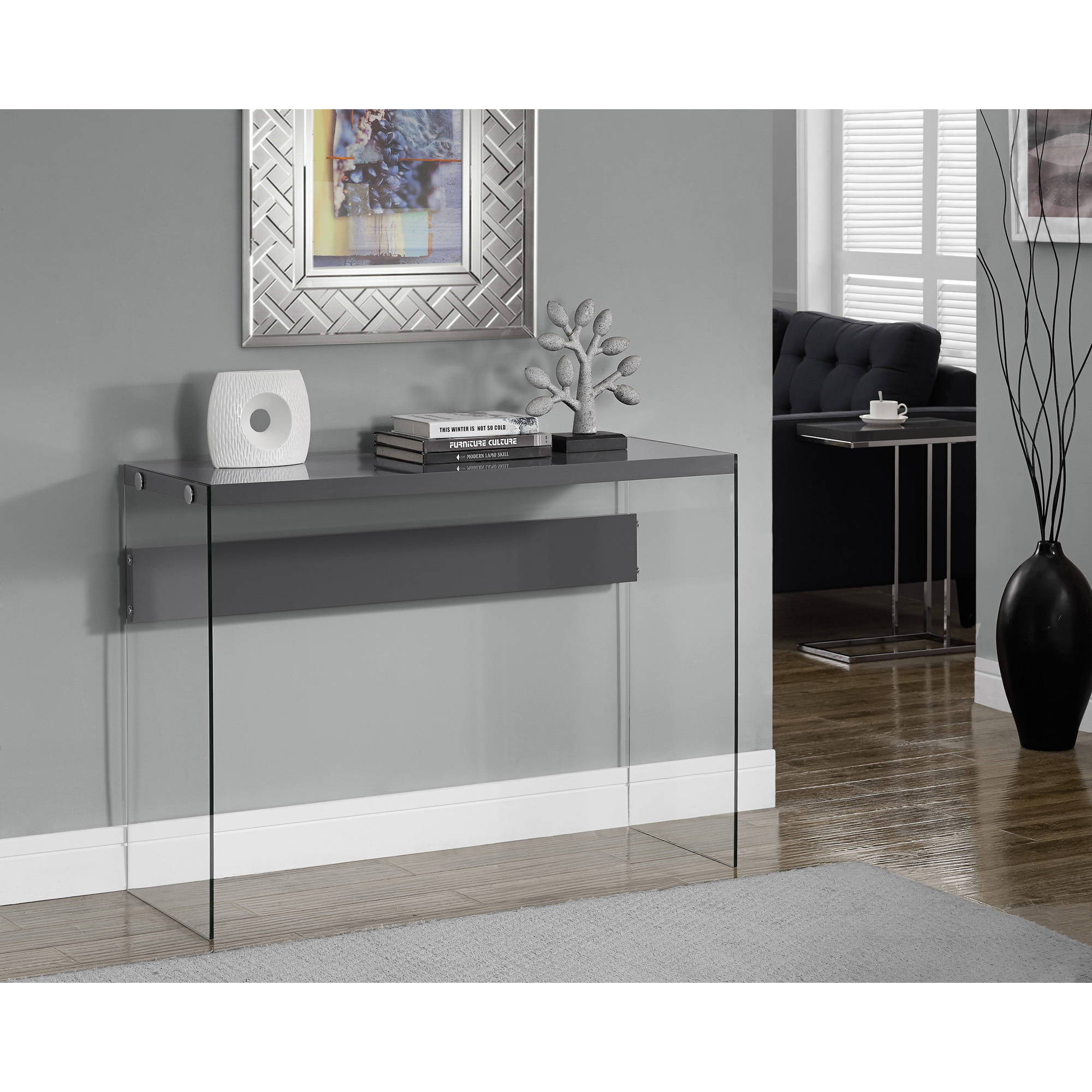 Monarch Console Table Glossy White With Tempered Glass Walmart