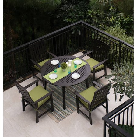 Delahey 5 Piece Wood Patio Dining Set Dark Brown Finish Seats 4