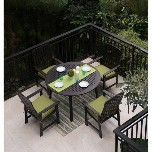 Delahey 5 Piece Wood Patio Dining Set, Dark Brown Finish, Seats 4
