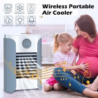 VicTsing 5 IN 1 Portable Air Conditioner Cooler Humidifier Refrigeration BT Music Radio Speaker USB Charge LED Light,Grey