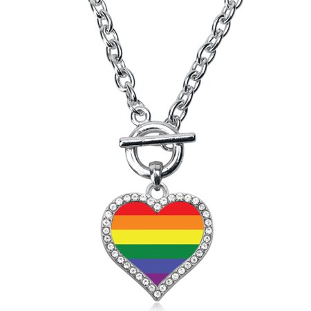 LGBT Flag Open Heart Toggle Necklace