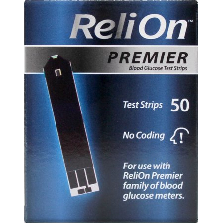 ReliOn Premier Blood Glucose Test Strips, 50 Ct