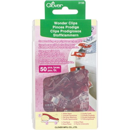 CLOVER Wonder Clips, Red, 50-Pack Clover Quilting Notions