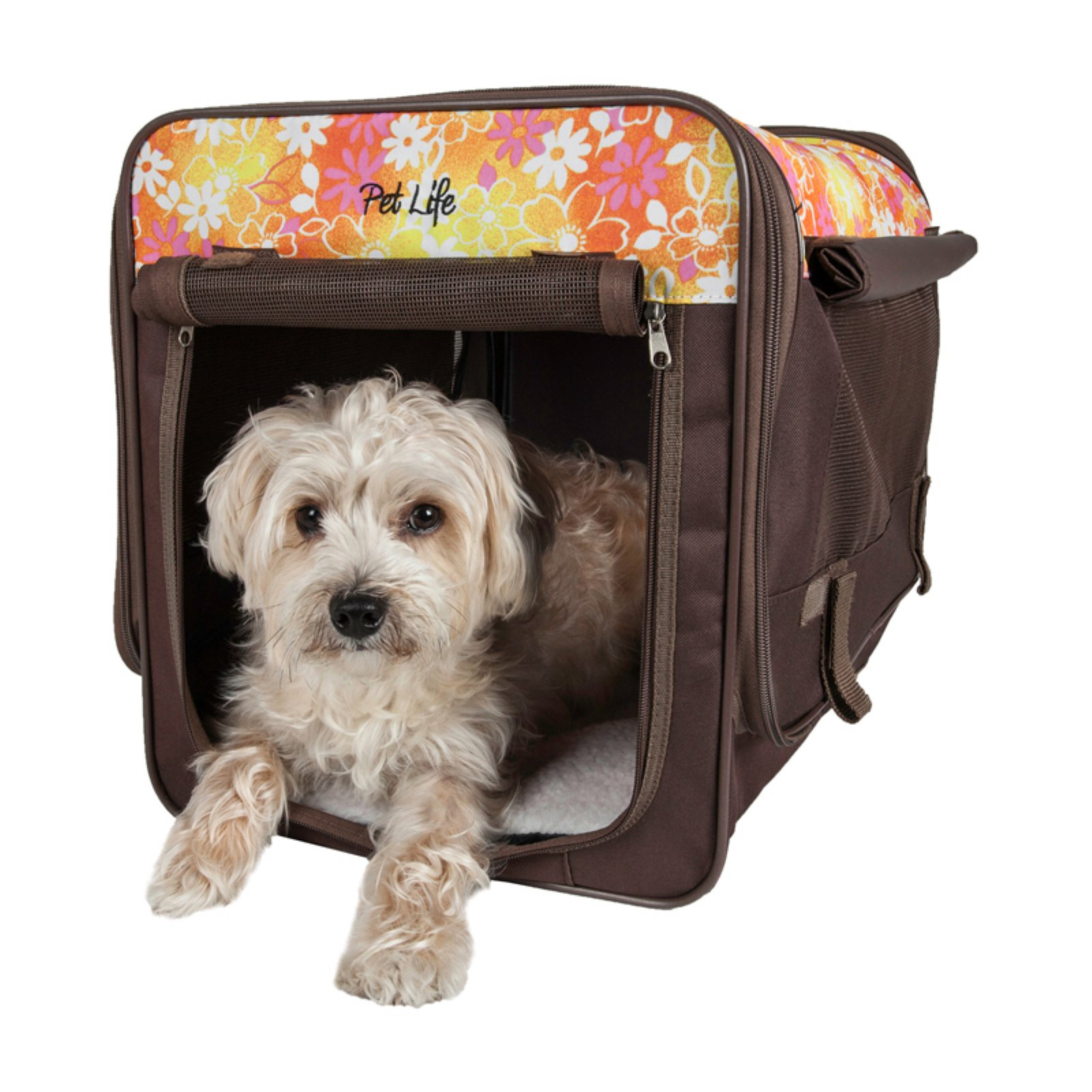 Pet Life Floral Folding Collapsible Lightweight Wire Framed Tent Pet Crate