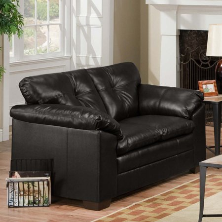 Astonishing Simmons Sebring Black Leather Loveseat Frankydiablos Diy Chair Ideas Frankydiabloscom