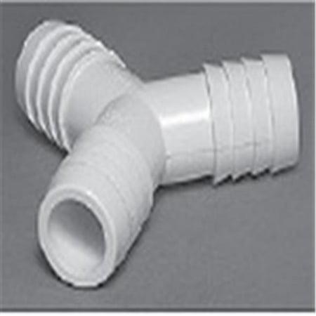 120 deg PVC Fitting Ribbed Barb Wye - 0.75 x 0.75 x 0.75 in.