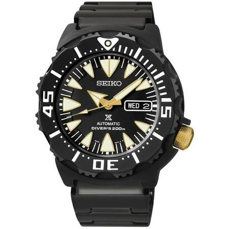 Seiko Mens Prospex Dive Stainless Steel Case Polyurethane Strap Black Watch SRP583 by