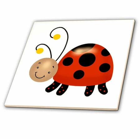 3dRose Cute Ladybug Illustration - Ceramic Tile, 6-inch - Ladybug Ceramic Tile
