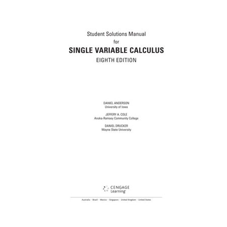 Student Solutions Manual, Chapters 1-11 for Stewart's Single Variable Calculus, (James Stewart Calculus 4th Edition Solutions Manual)